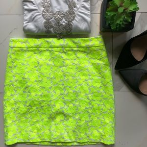 J. Crew Neon Yellow and White Floral Mini Skirt